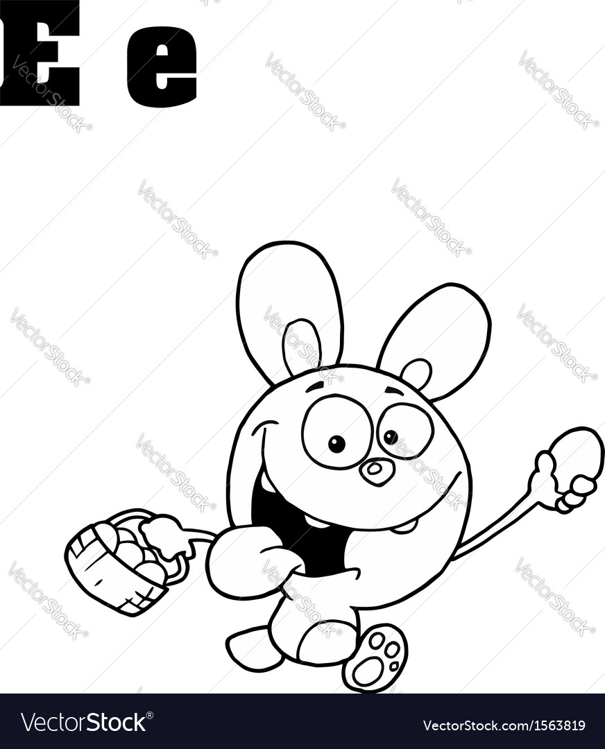 Easter bunny cartoon with letter vector | Price: 1 Credit (USD $1)