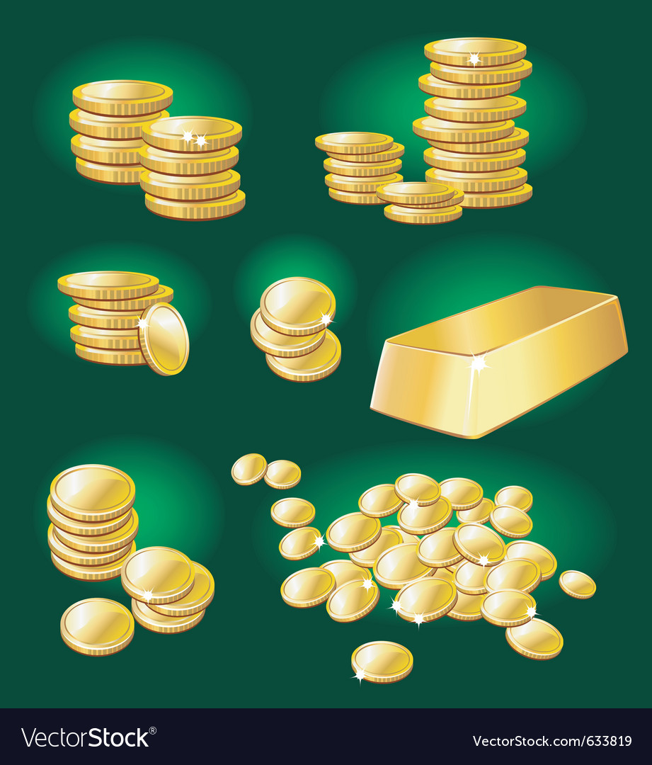 Gold coin and bullion vector | Price: 1 Credit (USD $1)