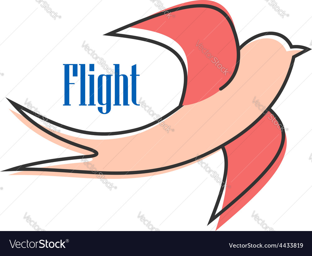 Nimble pink swallow in flight vector | Price: 1 Credit (USD $1)
