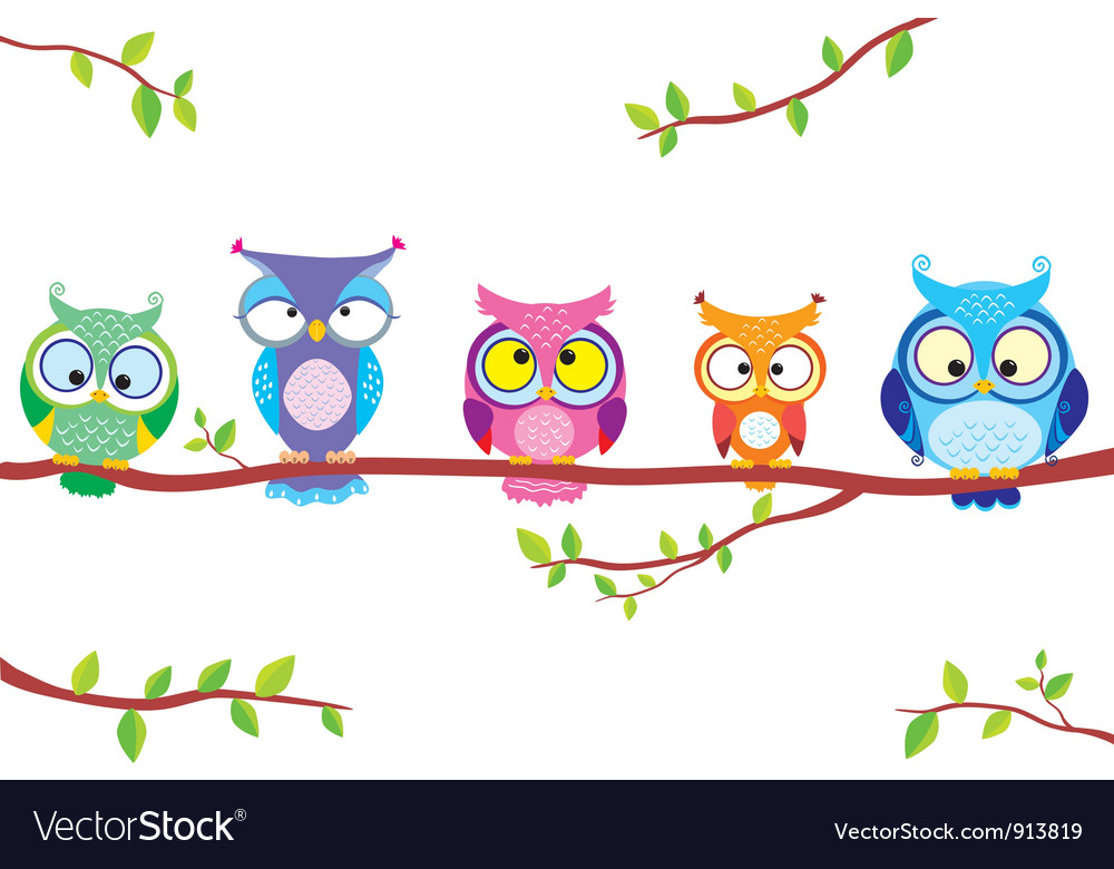 Owl five vector | Price: 1 Credit (USD $1)
