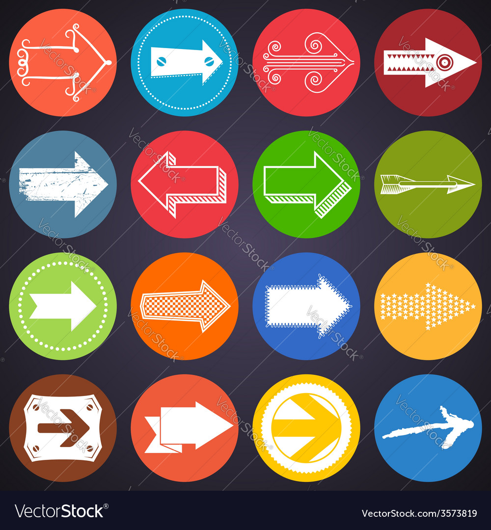 Set of flat arrow icons vector | Price: 1 Credit (USD $1)