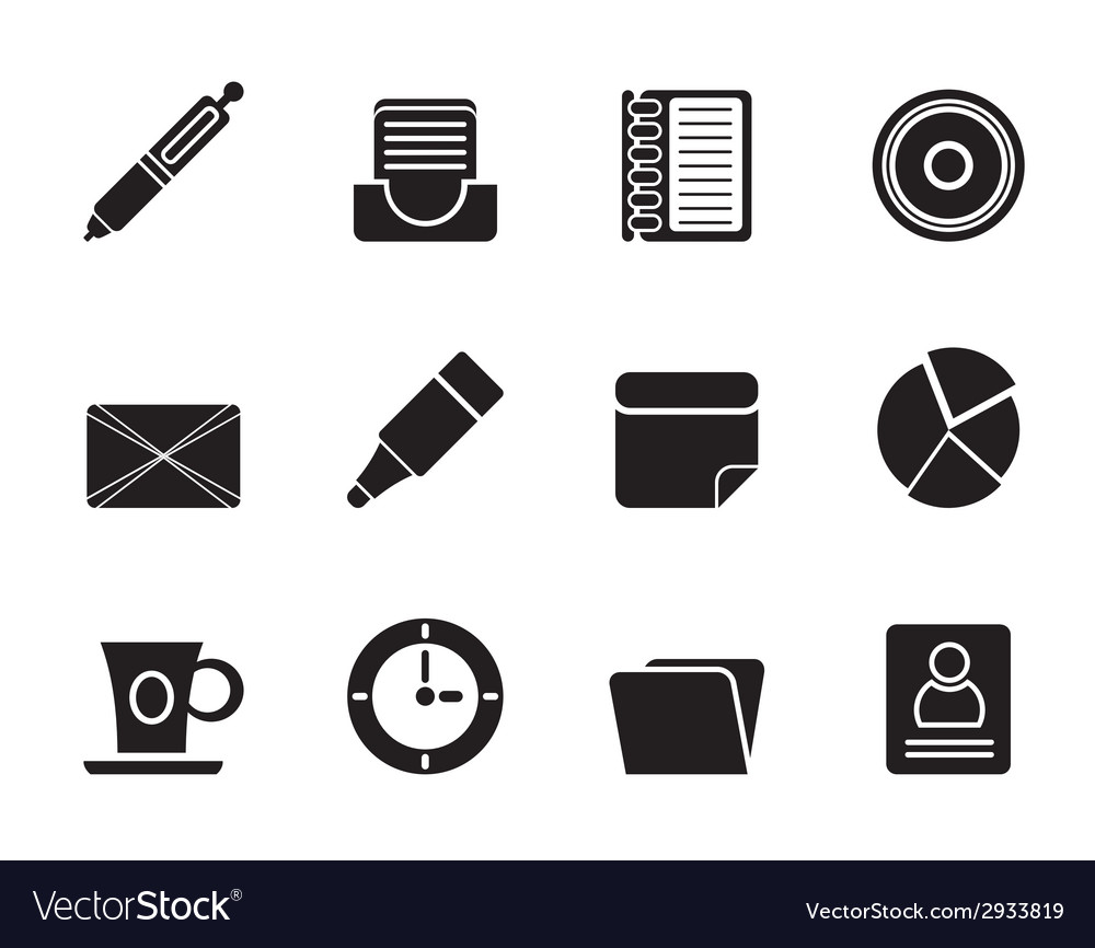 Silhouette office and business icons vector   Price: 1 Credit (USD $1)