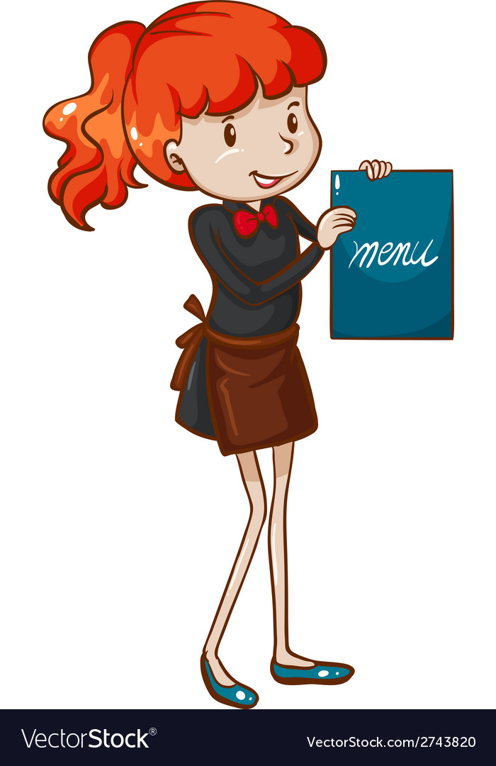 A simple sketch of a female waitress vector | Price: 1 Credit (USD $1)
