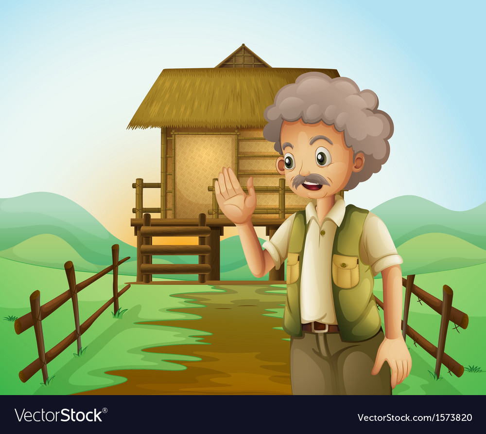 An old man in front of the native house at the vector | Price: 3 Credit (USD $3)