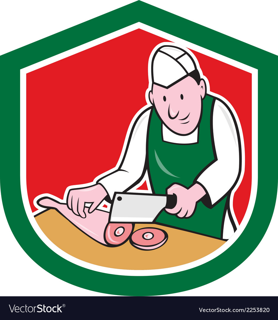 Butcher chopping meat shield cartoon vector