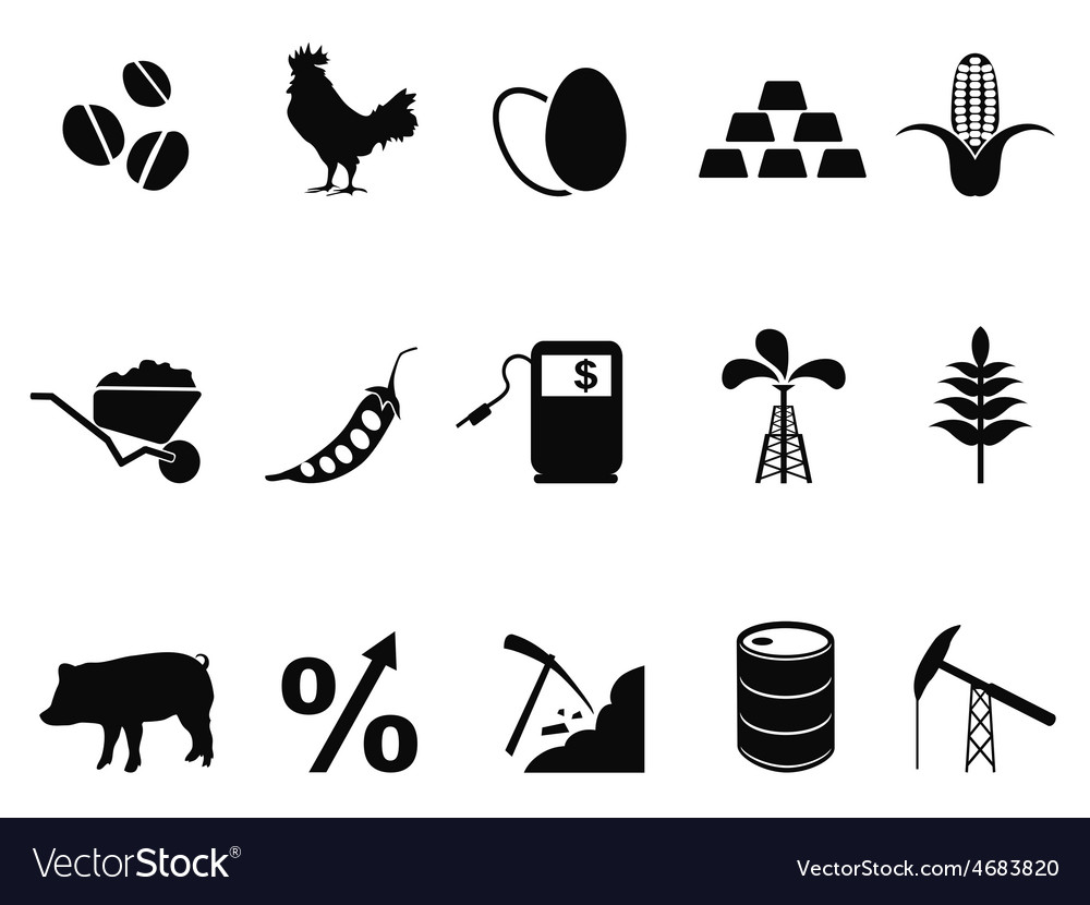 Commodities trading market icons set vector | Price: 1 Credit (USD $1)