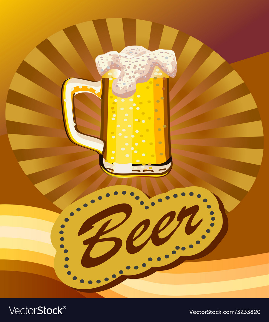 Glass of beer with foam vector | Price: 1 Credit (USD $1)