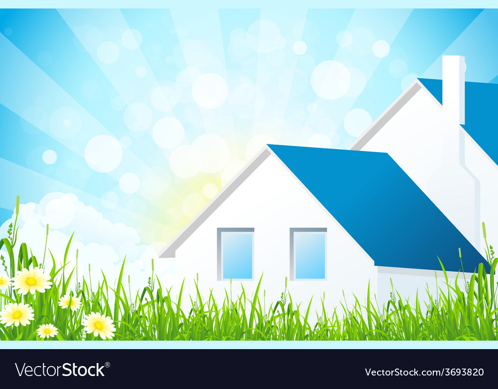Green grass with house vector | Price: 1 Credit (USD $1)