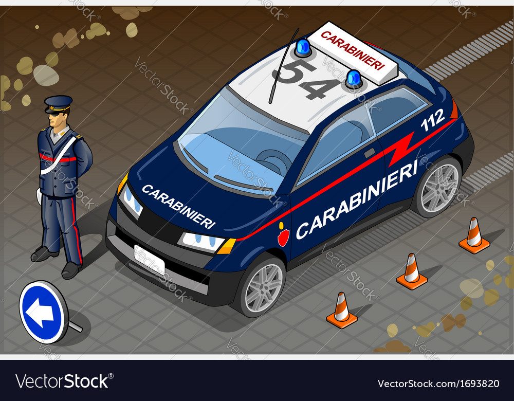 Isometric italian carabinieri police car vector | Price: 1 Credit (USD $1)