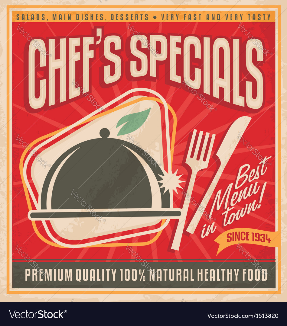 Retro poster template for best restaurant in town vector | Price: 3 Credit (USD $3)