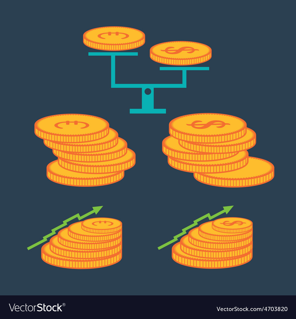 Set of coins and finance elements vector | Price: 1 Credit (USD $1)