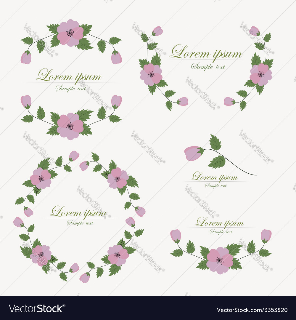 Set of flowers design elements vector | Price: 1 Credit (USD $1)