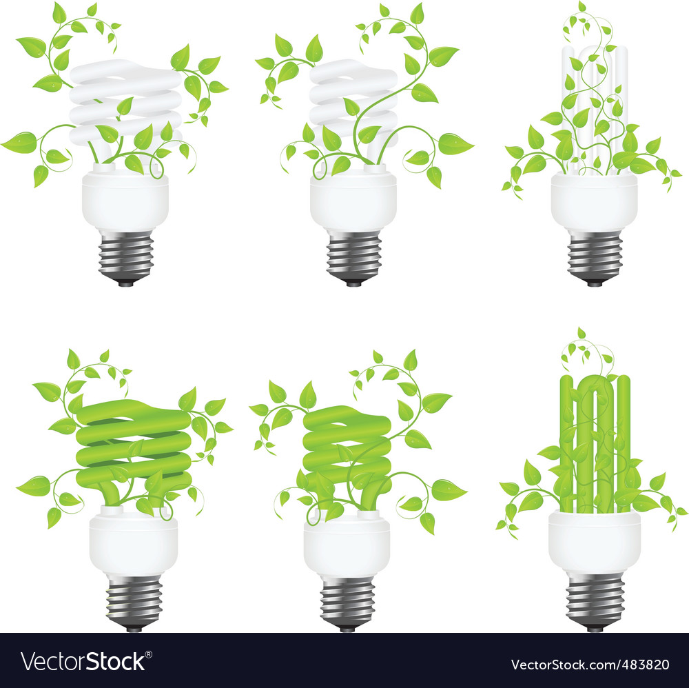 Set power saving lamps vector | Price: 1 Credit (USD $1)