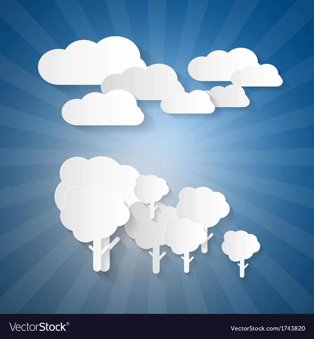 Trees clouds and blue sky made from paper vector | Price: 1 Credit (USD $1)