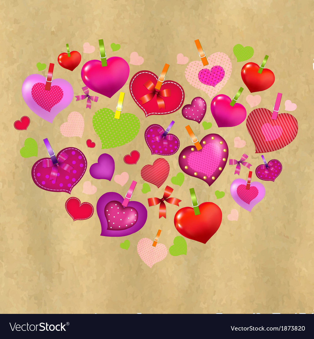 Valentines day card with colorful hearts and old vector | Price: 1 Credit (USD $1)