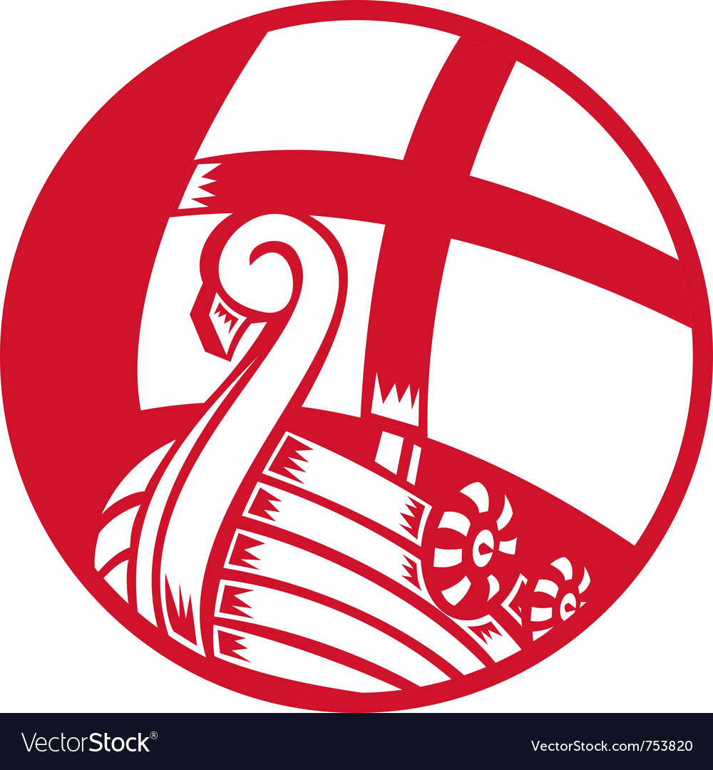 Viking boat ship with cross sail vector | Price: 1 Credit (USD $1)