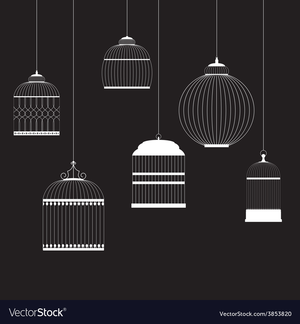 Vintage birdcages silhouettes set vector | Price: 1 Credit (USD $1)