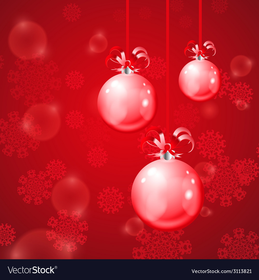 Christmas balls on red background with snowflakes vector | Price: 1 Credit (USD $1)