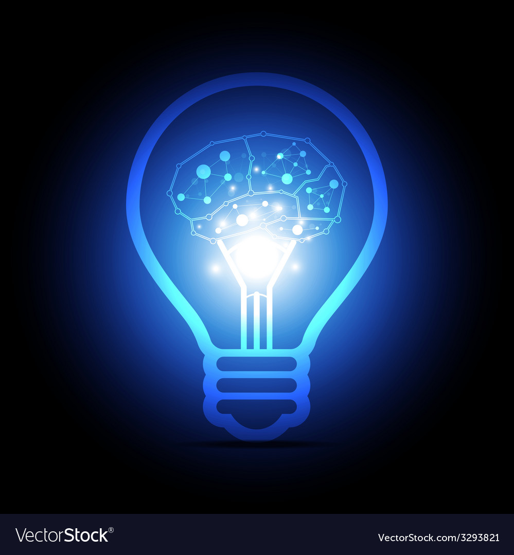 Digital brain inside electric bulb vector | Price: 1 Credit (USD $1)