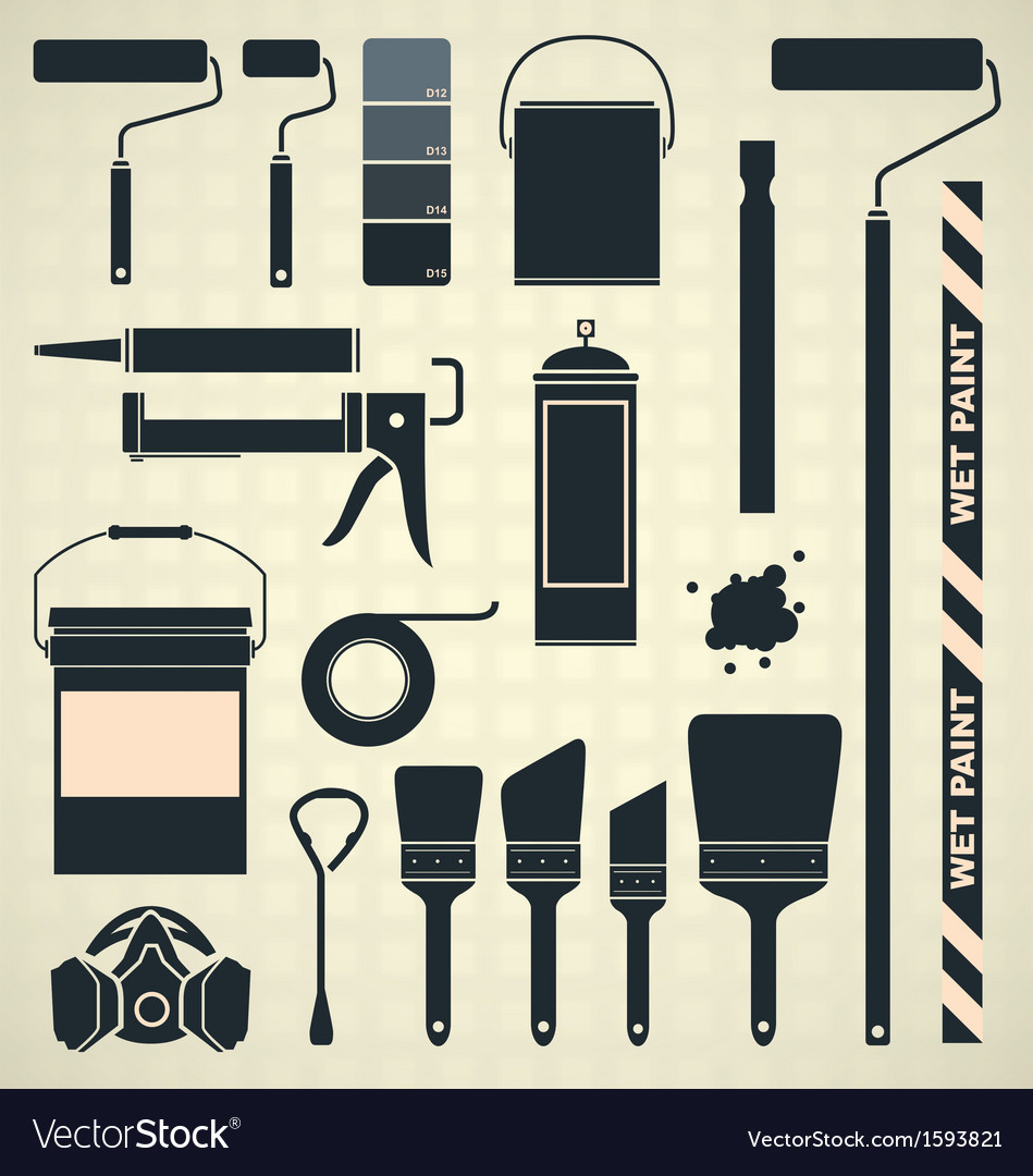 Painting supplies silhouettes and icons vector | Price: 1 Credit (USD $1)