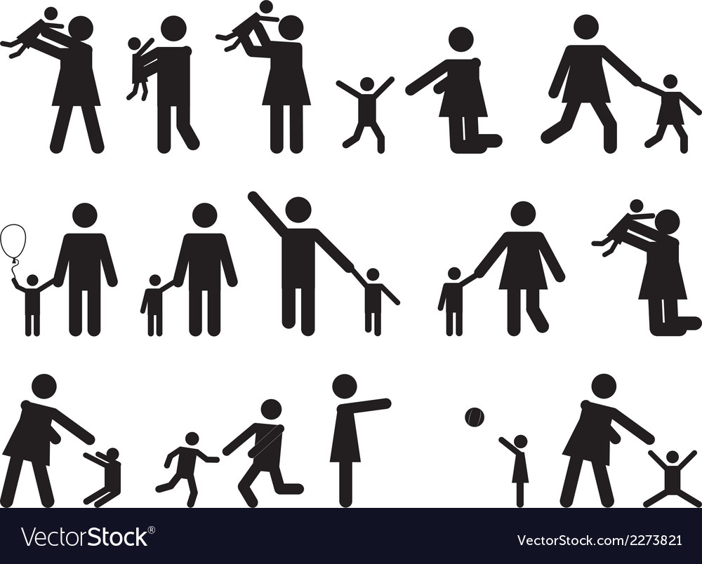 Pictogram people with kids vector | Price: 1 Credit (USD $1)