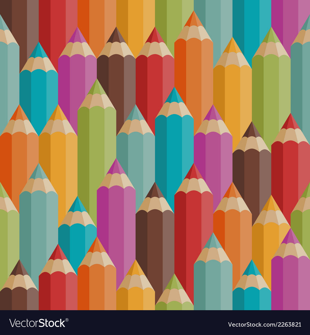Seamless pattern with colored pencils in retro vector | Price: 1 Credit (USD $1)