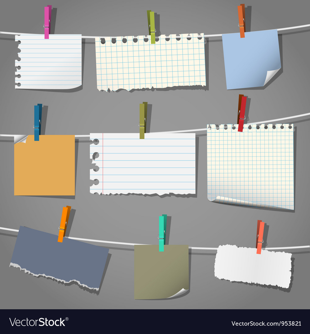 Various notes and a clothes pegs vector | Price: 1 Credit (USD $1)