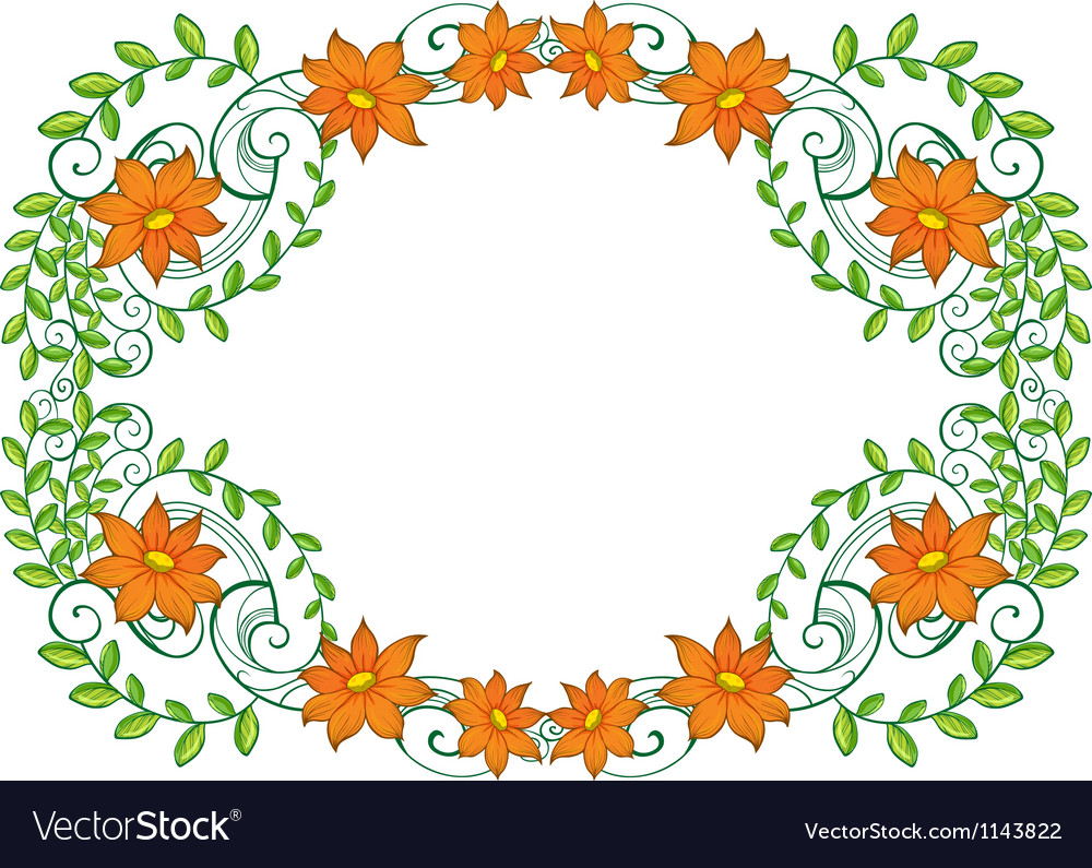 A vine plant with flower border vector | Price: 1 Credit (USD $1)