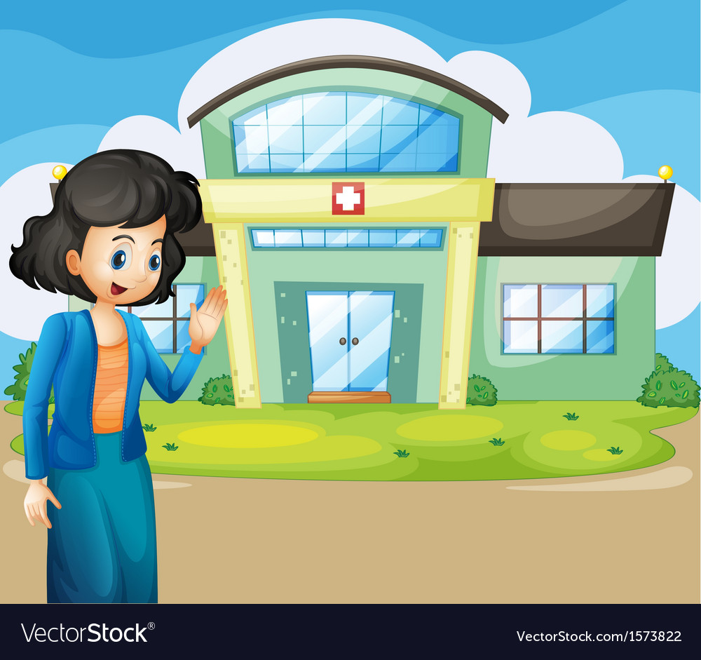 A woman in front of the hospital vector | Price: 3 Credit (USD $3)
