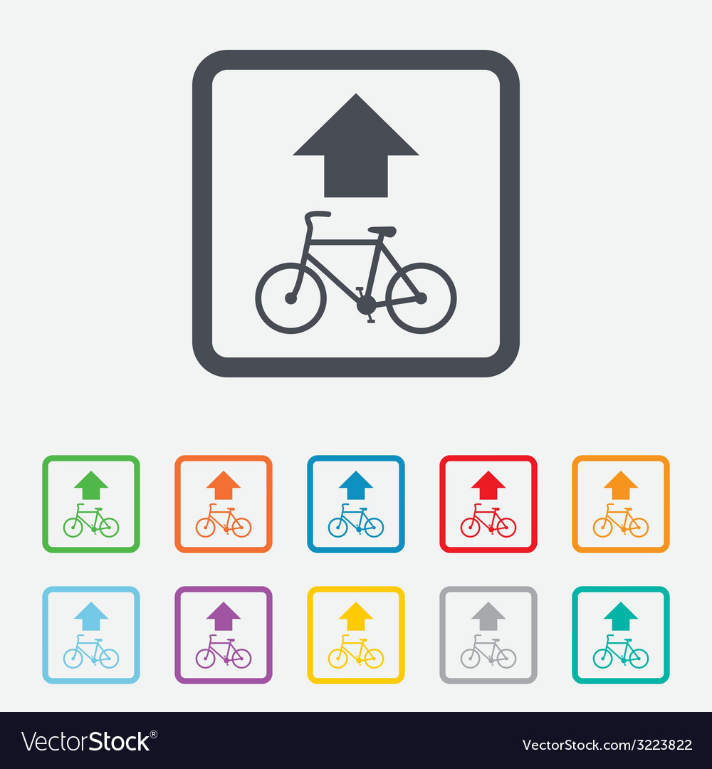 Bicycle path trail sign icon cycle path vector | Price: 1 Credit (USD $1)