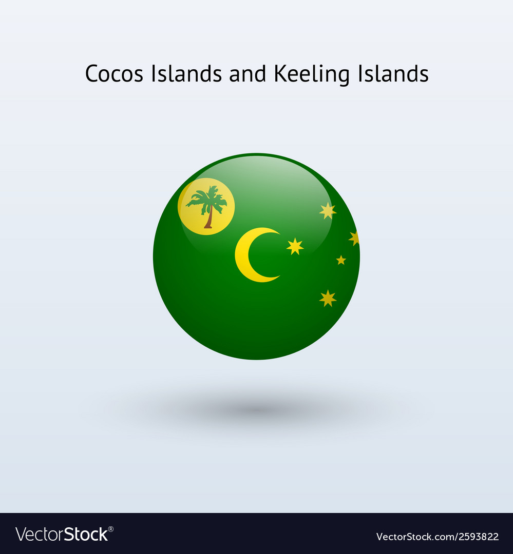Cocos islands and keeling islands round flag vector   Price: 1 Credit (USD $1)