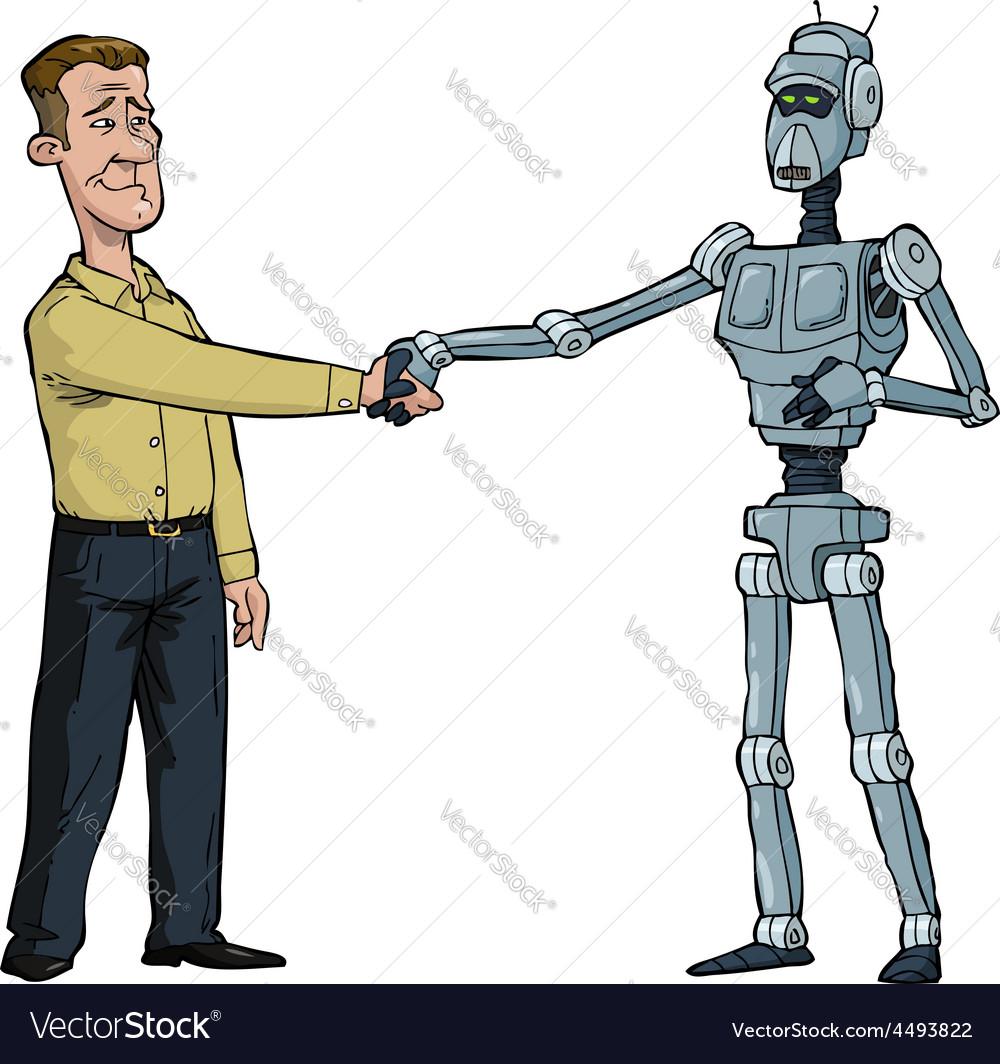 Handshake man and robot vector