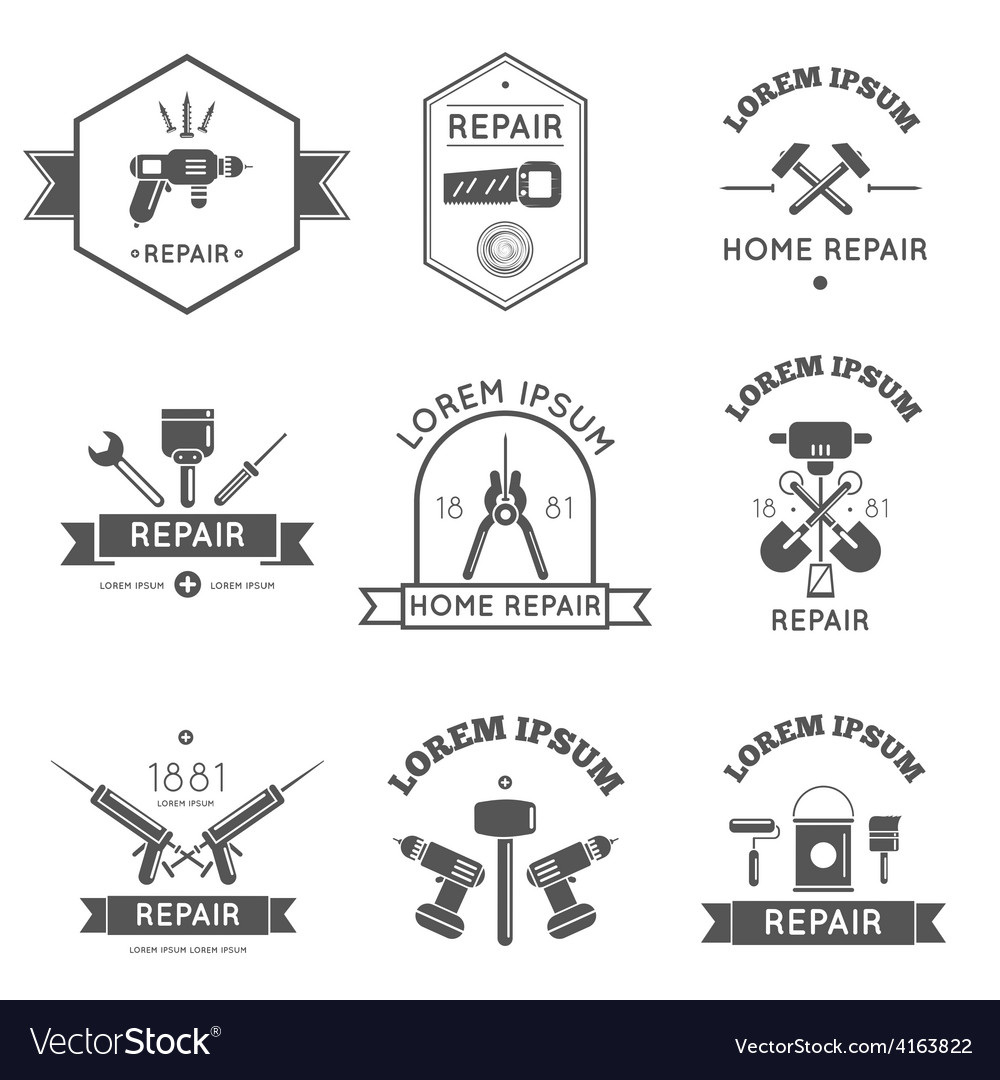 Home repair tools labels flat vector | Price: 3 Credit (USD $3)