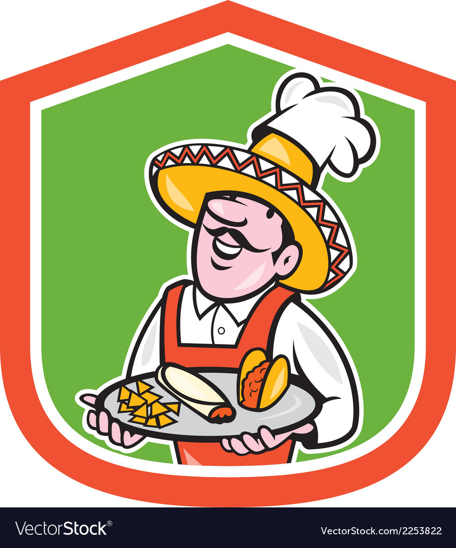 Mexican chef cook shield cartoon vector | Price: 1 Credit (USD $1)