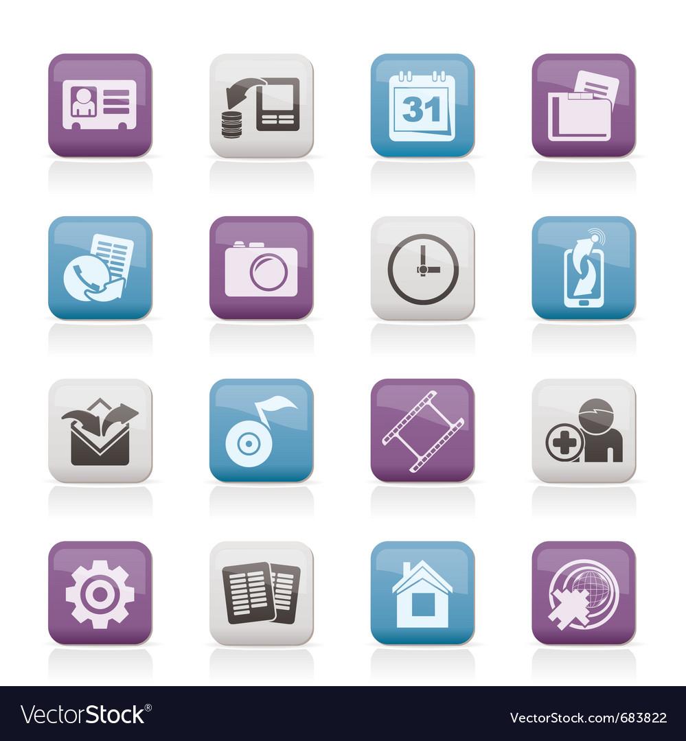 Mobile phone menu icons vector | Price: 1 Credit (USD $1)