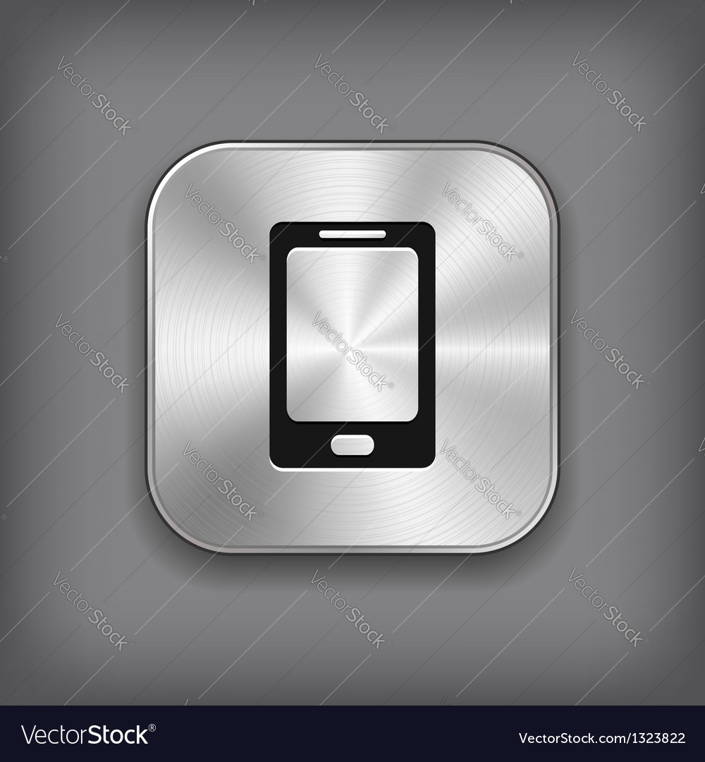 Phone icon - metal app button vector | Price: 1 Credit (USD $1)