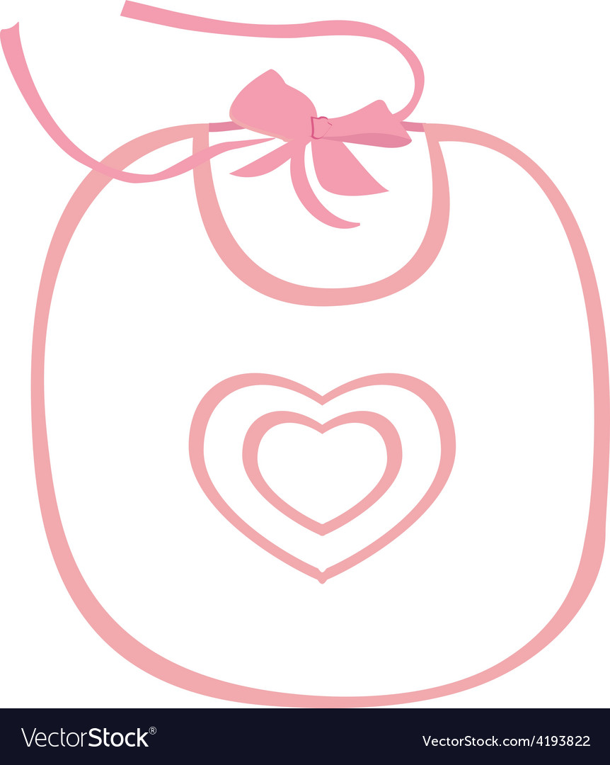 Pink baby bib with heart vector | Price: 1 Credit (USD $1)