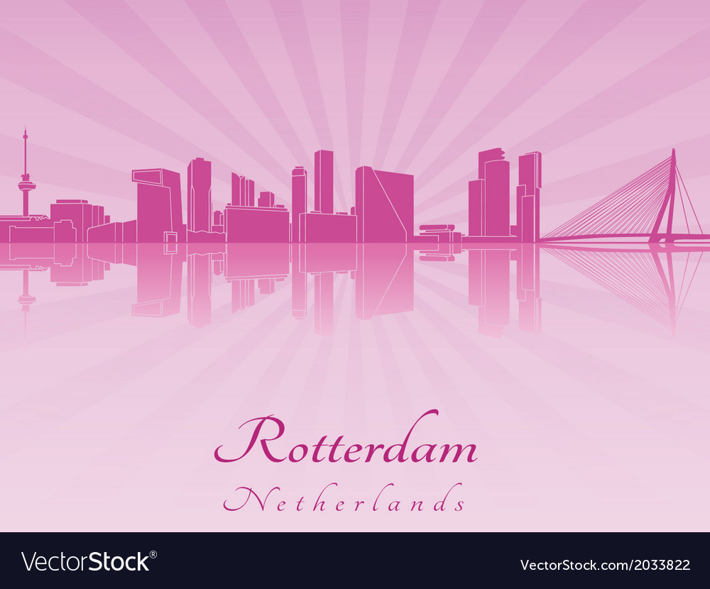 Rotterdam skyline in purple radiant orchid vector | Price: 1 Credit (USD $1)