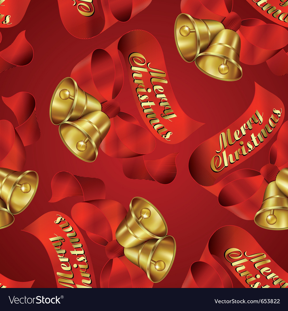 Seamless merry christmas bells wrapping paper patt vector | Price: 1 Credit (USD $1)