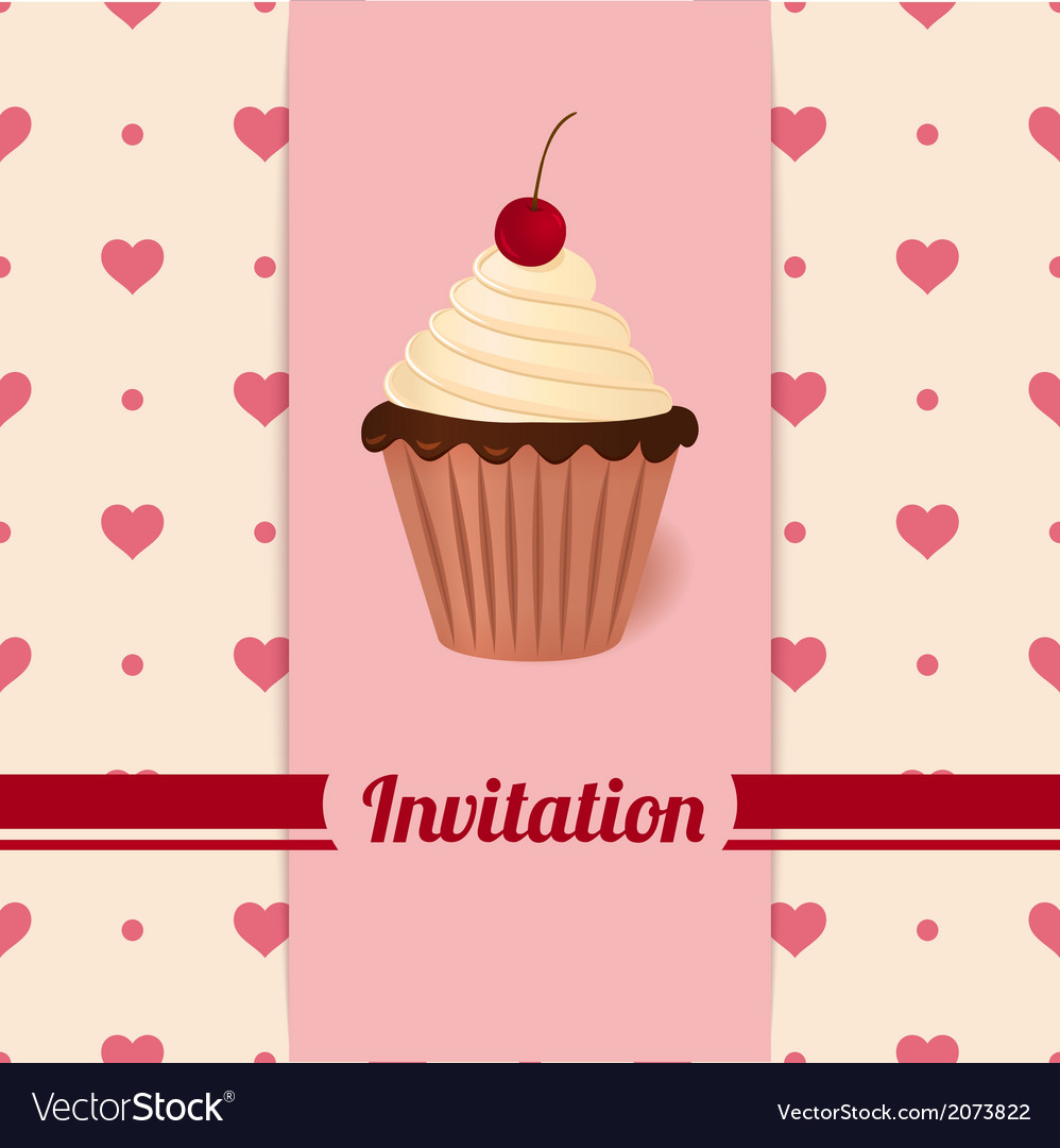Vintage invitation with cherry cream cake vector | Price: 1 Credit (USD $1)