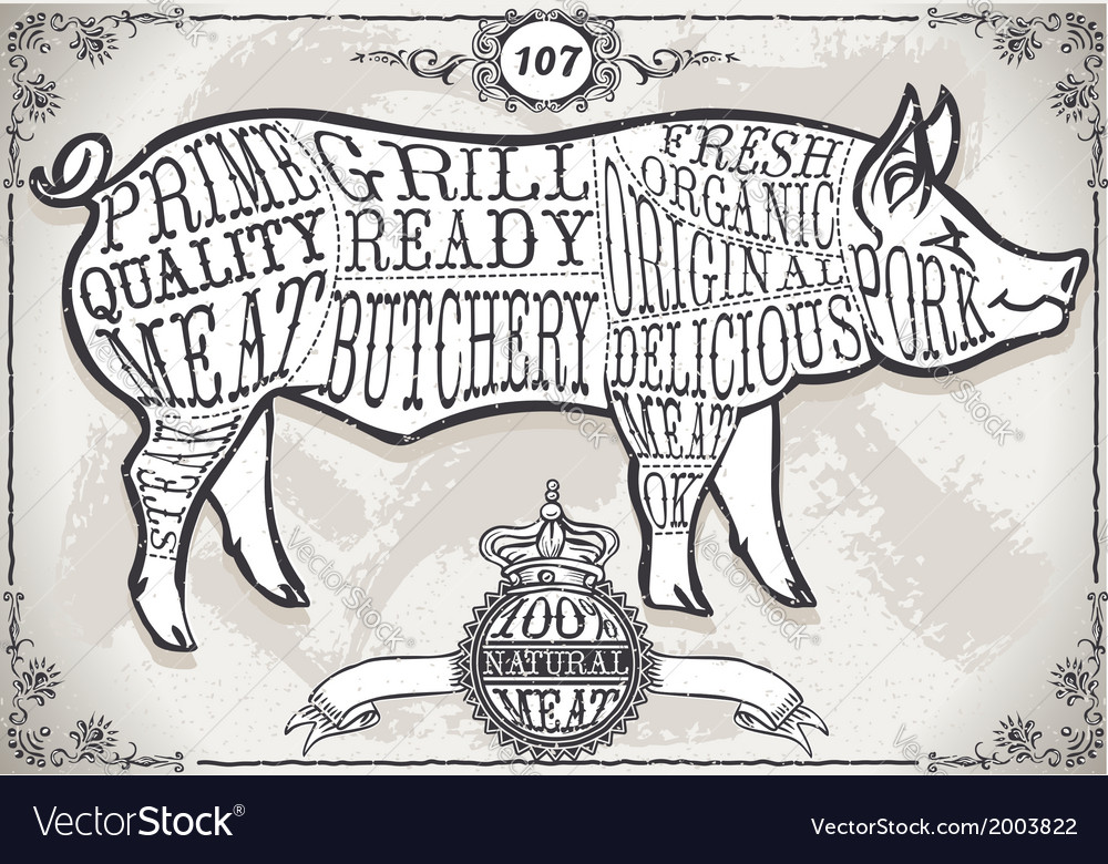 Vintage page with cut of pork vector | Price: 1 Credit (USD $1)