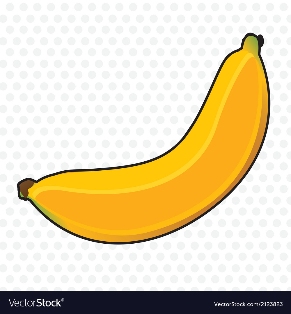 Banana cartoon on white background with gray dots vector | Price: 1 Credit (USD $1)