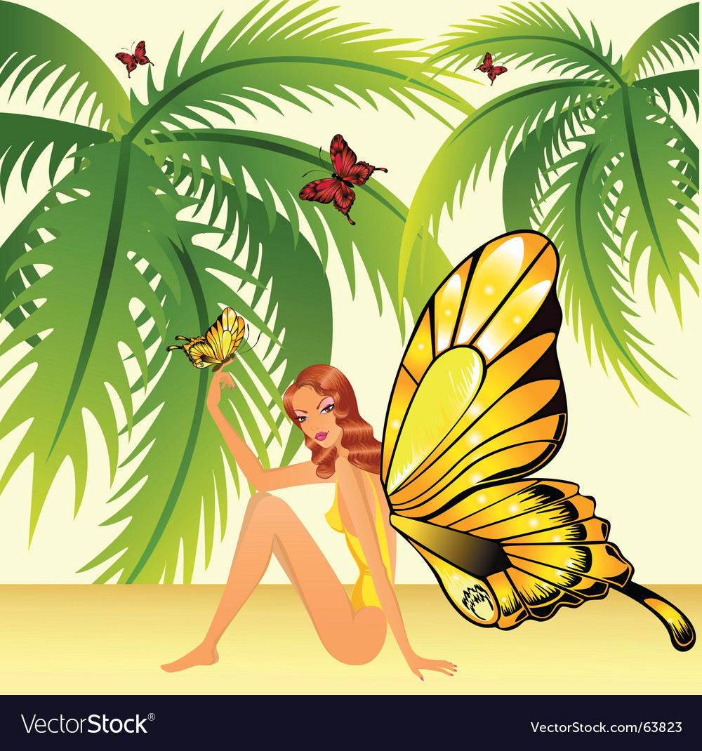 Butterfly girl vector | Price: 5 Credit (USD $5)