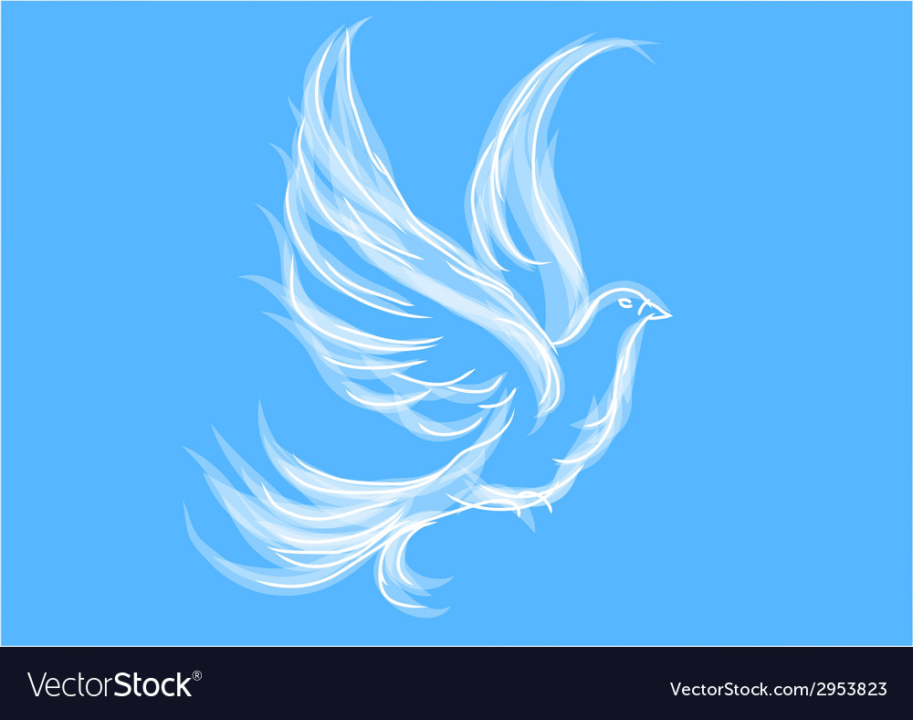 Dove on blue vector | Price: 1 Credit (USD $1)