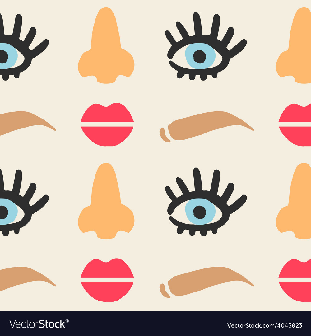 Face features cute seamless pattern eps 10 vector | Price: 1 Credit (USD $1)