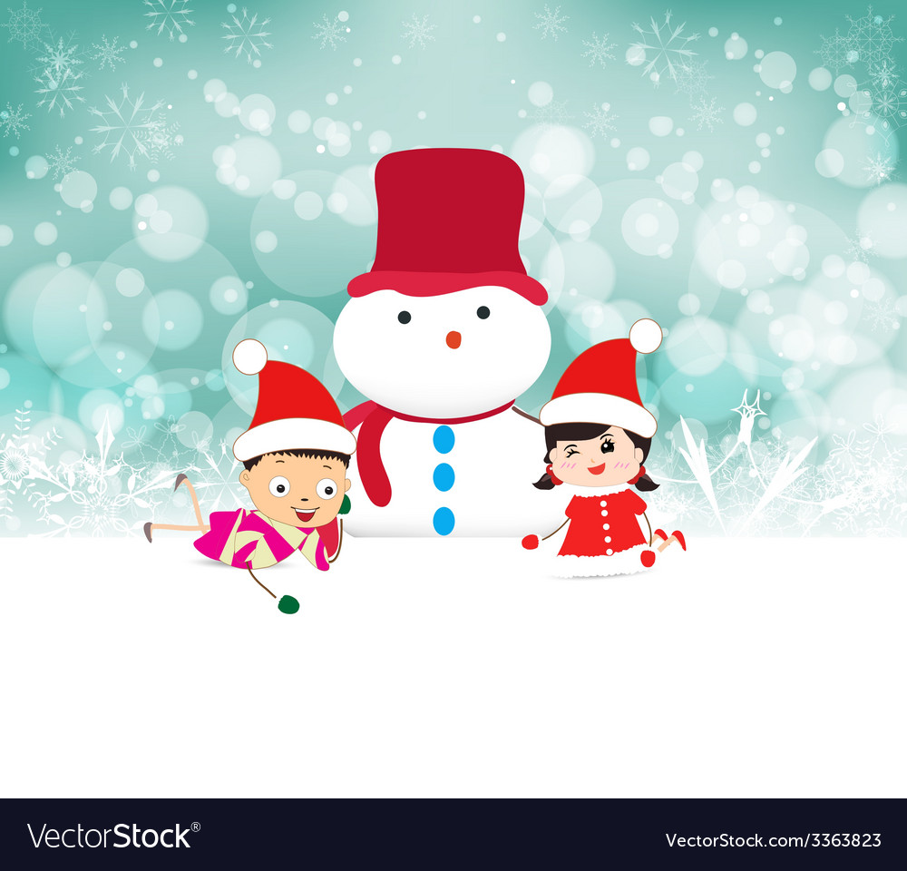Kids and snowman background with snowflakes vector | Price: 1 Credit (USD $1)