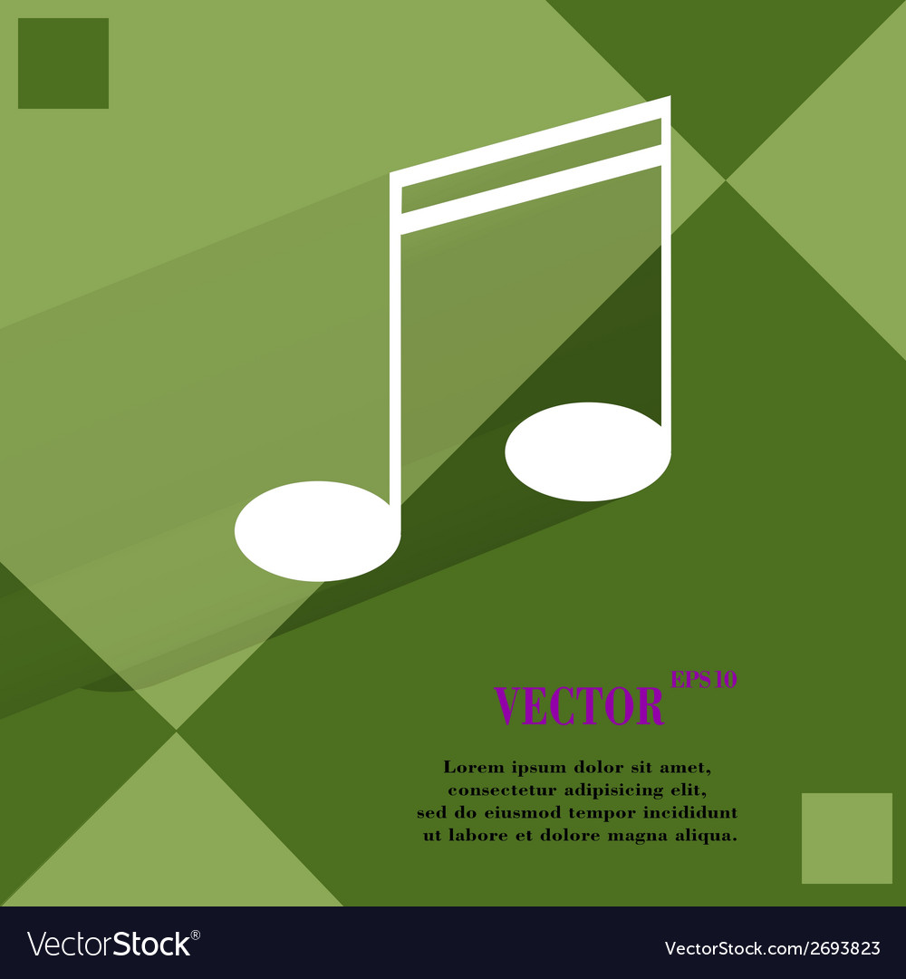 Music elements notes web icon on a flat geometric vector | Price: 1 Credit (USD $1)