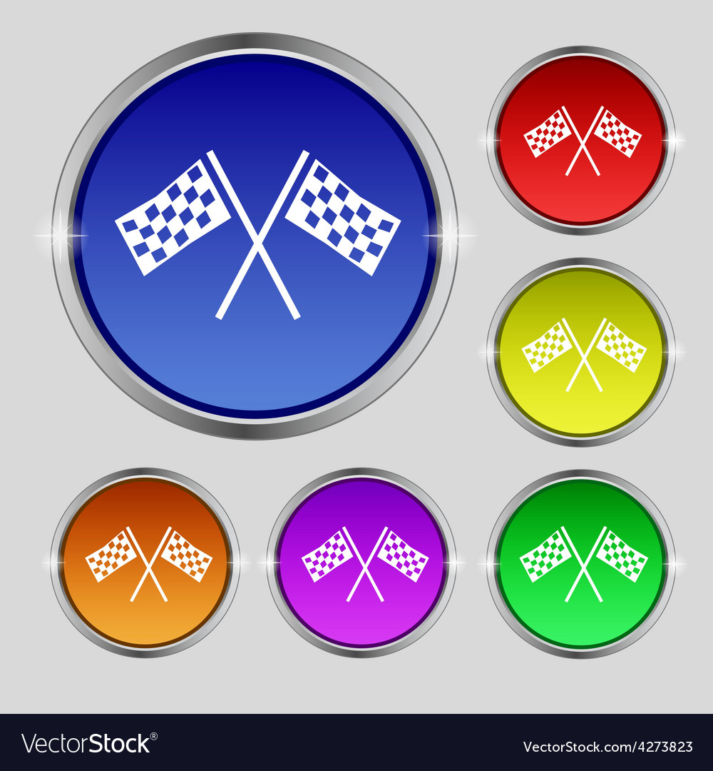 Race flag finish icon sign round symbol on bright vector | Price: 1 Credit (USD $1)