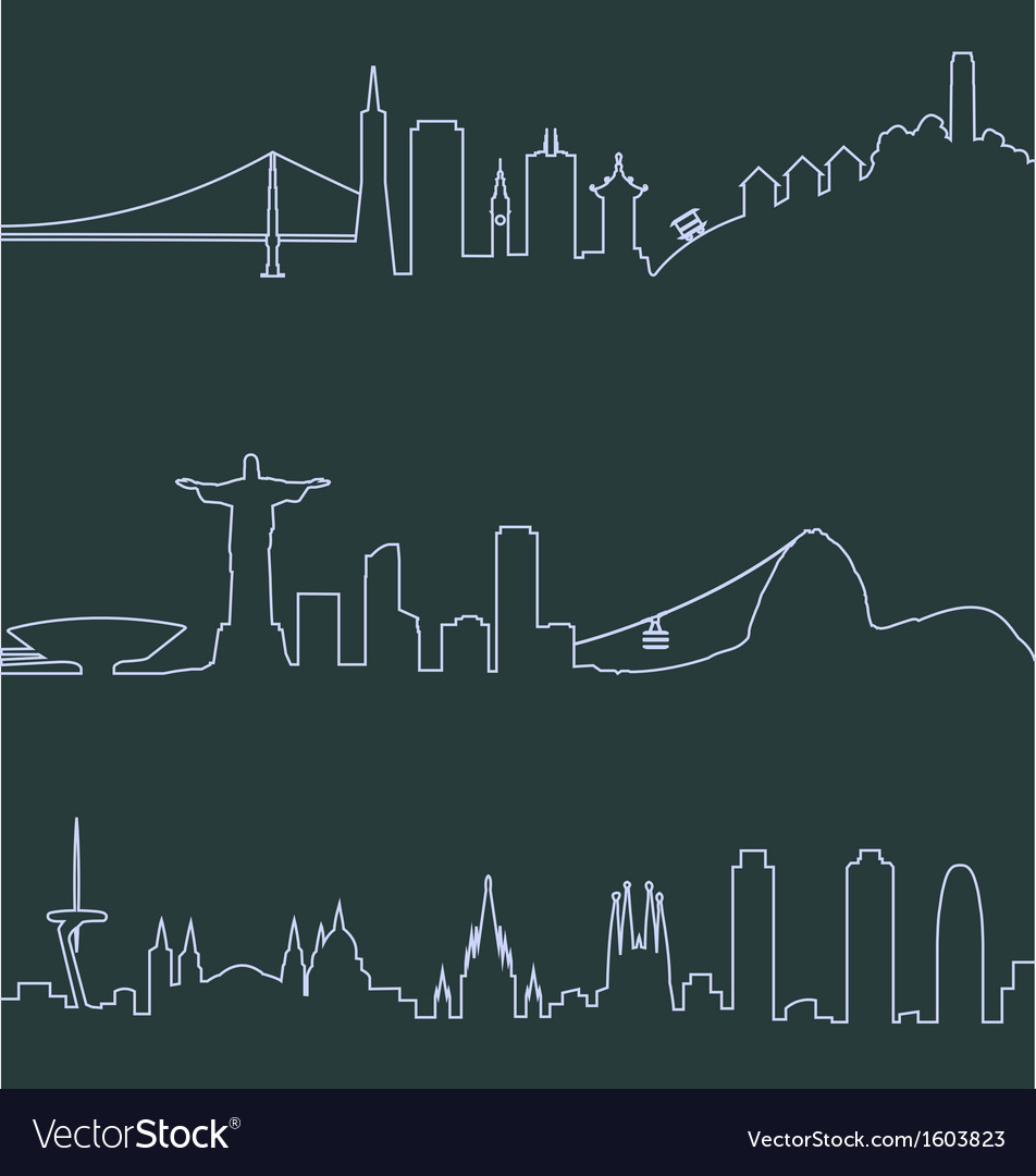 San francisco rio and barcelona profile lines vector | Price: 1 Credit (USD $1)
