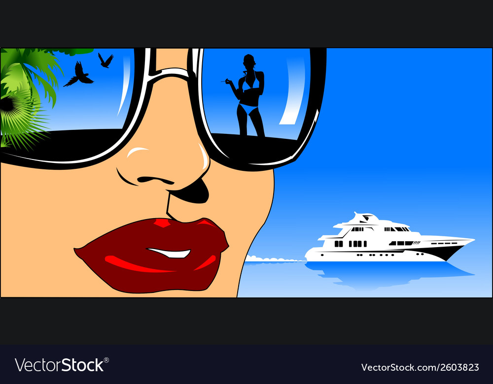Woman on boat design vector | Price: 1 Credit (USD $1)